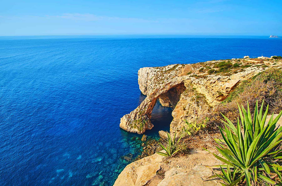 Rocks of the Blue Grotto not far from Qrendi, Malta