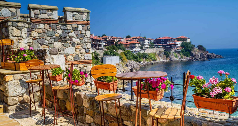 An embankment lined with btight flowers in Sozopol - a seaside town in Bulgaria