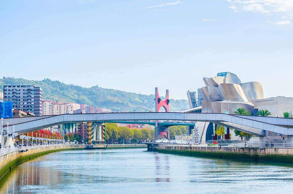 The Nervion River in Bilbao City - Spain