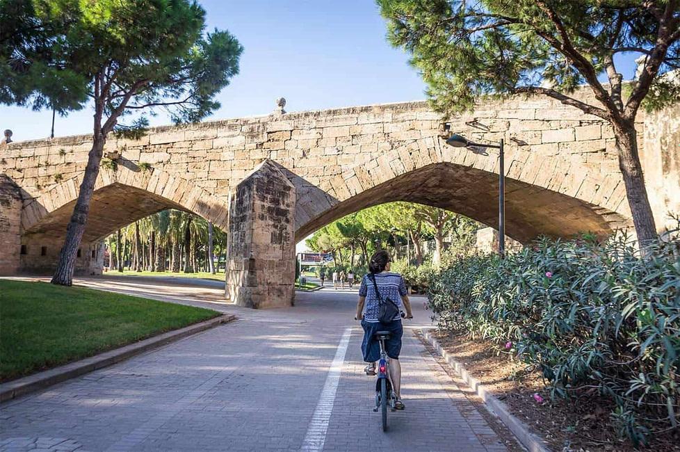 A cyclist on Les Jardins du Túria in Valencia, Spain