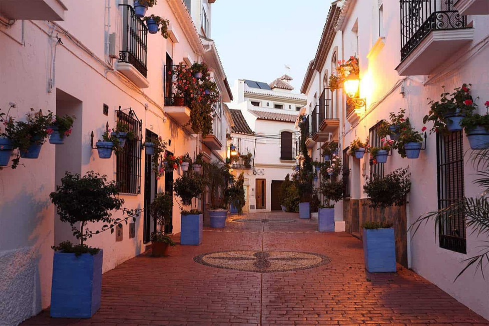 The narrow streets of Estepona in Spain