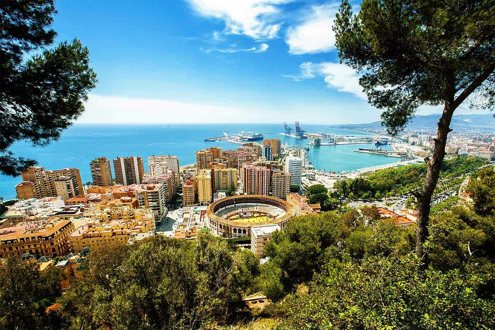 City and port view Malaga in Andalusia - Spain