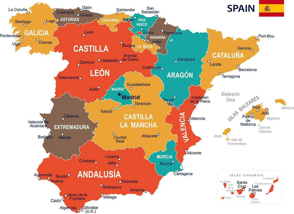 Best paces to live in Spain - A map of the regions in Spain